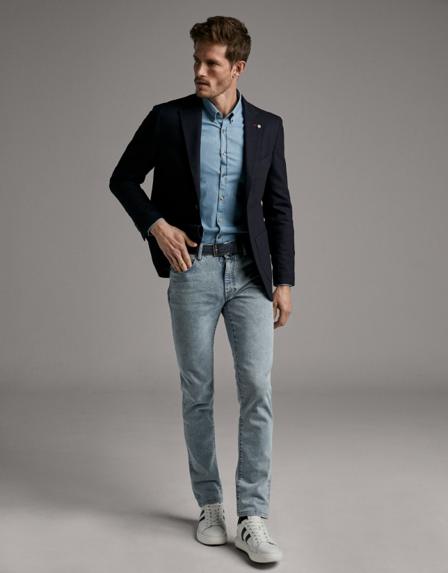 Denim, slim fit, denim sport shirt