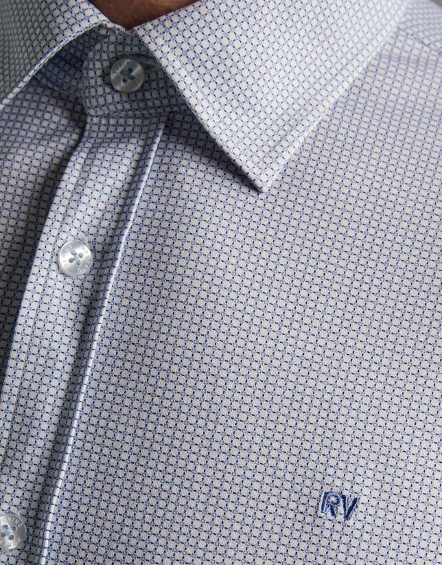 Camisa sport de punto estampado geométrico celeste