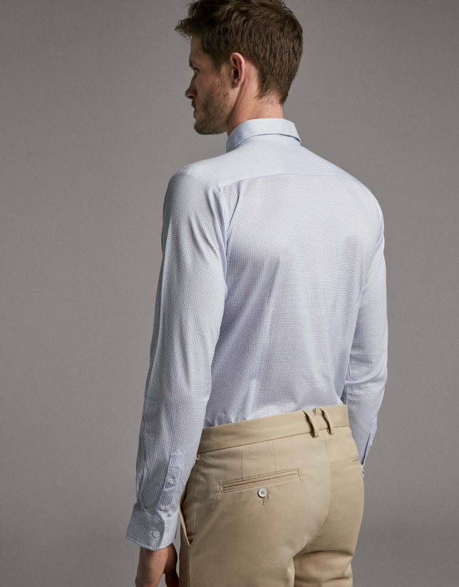 Light blue geometric print knit sport shirt