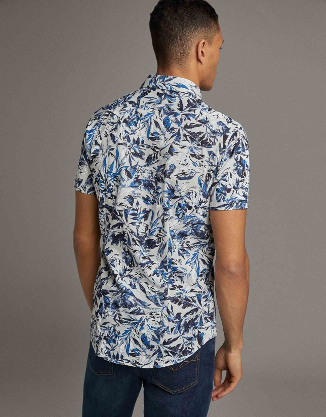 Leaf print knit sport shirt
