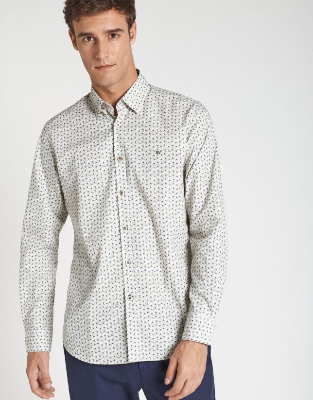 Navy blue and khaki pineapple print sport shirt