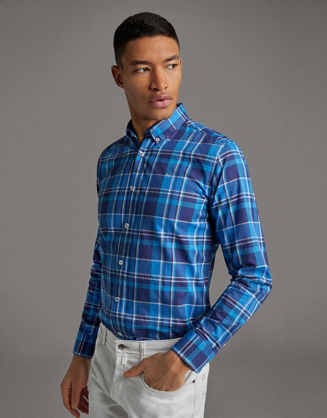 Blue checked sport shirt