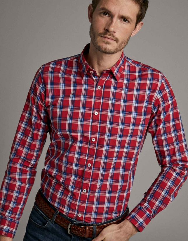 Red checked men's shirt