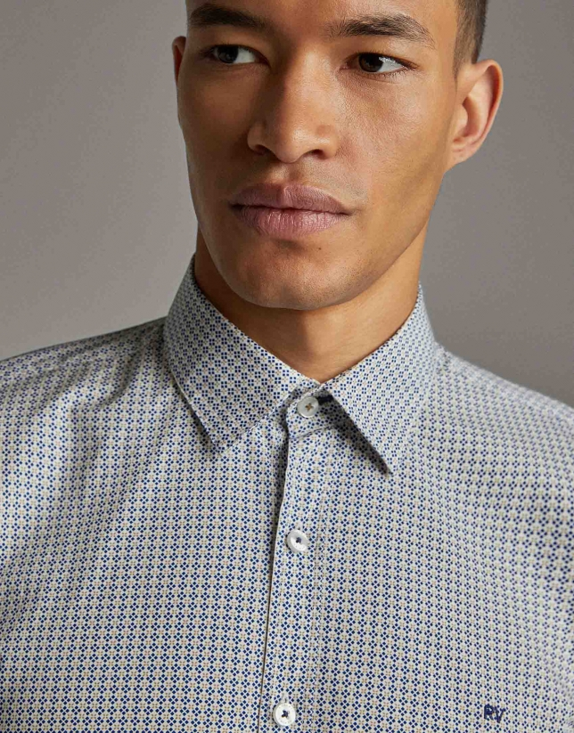 Khaki/blue geometric print men's shirt