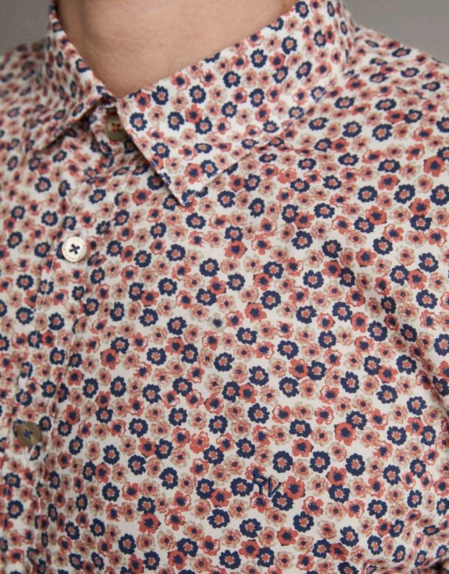 Camisa sport estampado flores naranja/azul