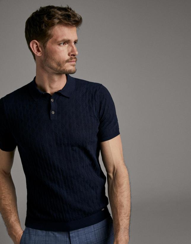 Navy blue tricot polo shirt