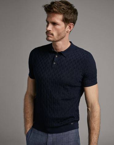Navy blue tricot polo shirt