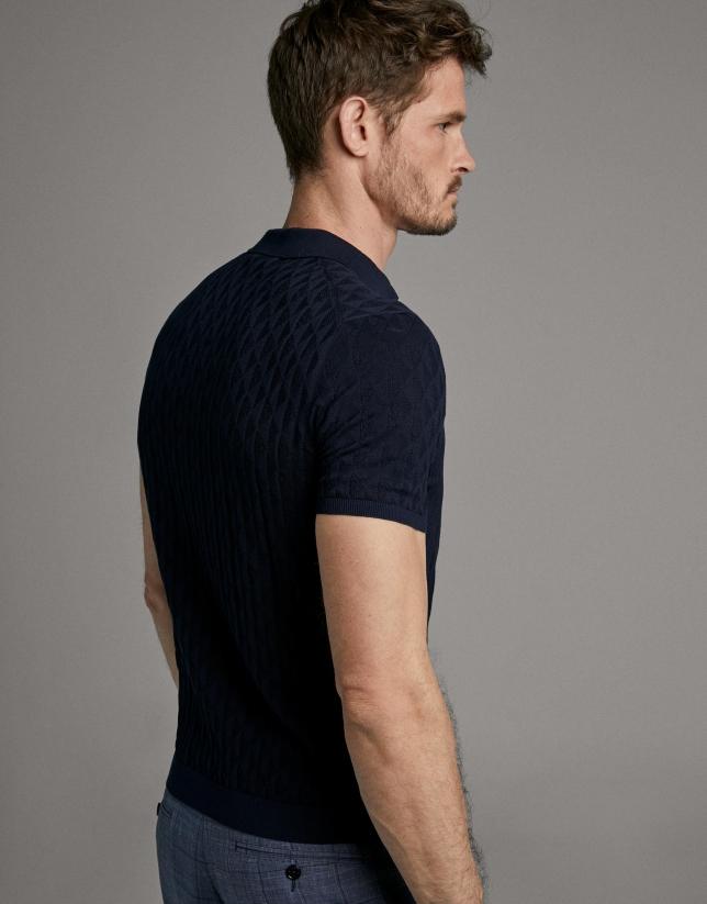 Polo tricot marino