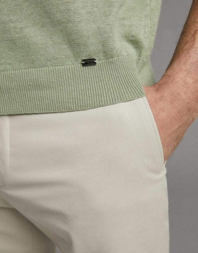 Camiseta lino tricotada caqui