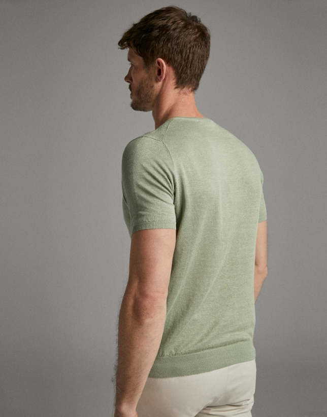 Khaki linen knit t-shirt