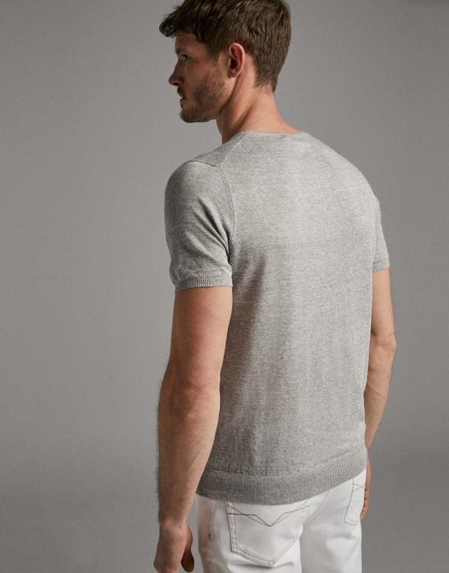 Camiseta lino tricotada gris claro