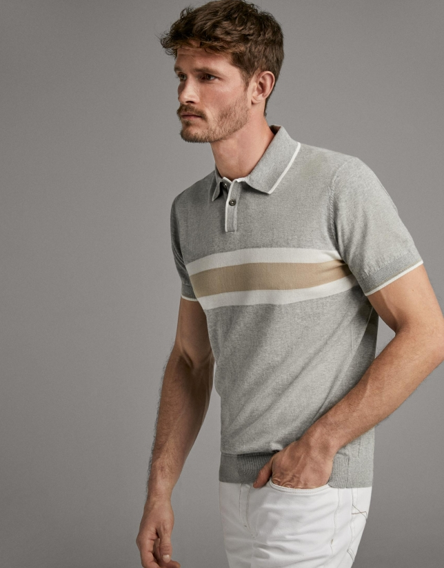 Tan and white knit polo shirt