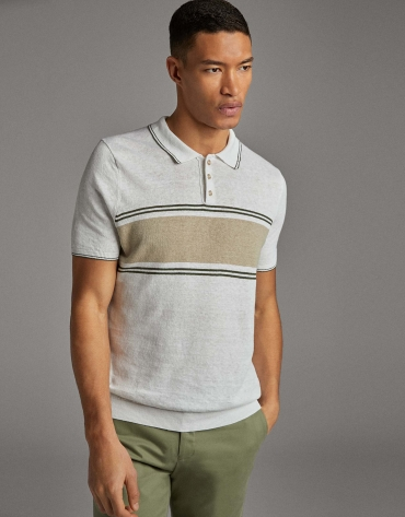 Tan/navy blue striped knit polo shirt