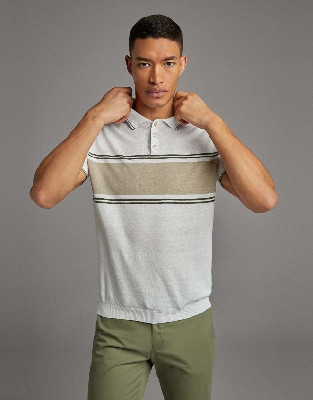 Tan/navy blue striped knit polo shirt
