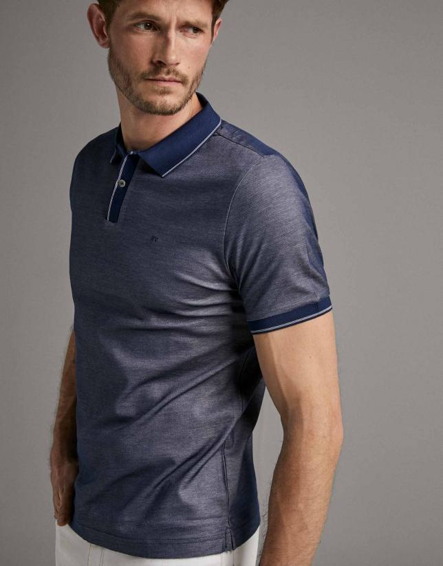 Blue/white two-tone piqué polo shirt