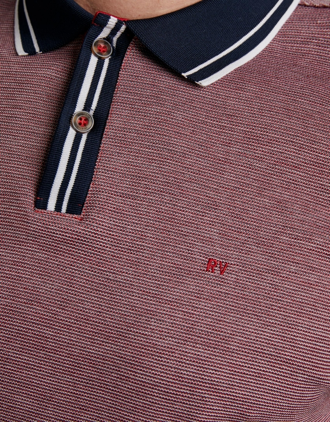 Blue/red/white striped piqué polo shirt