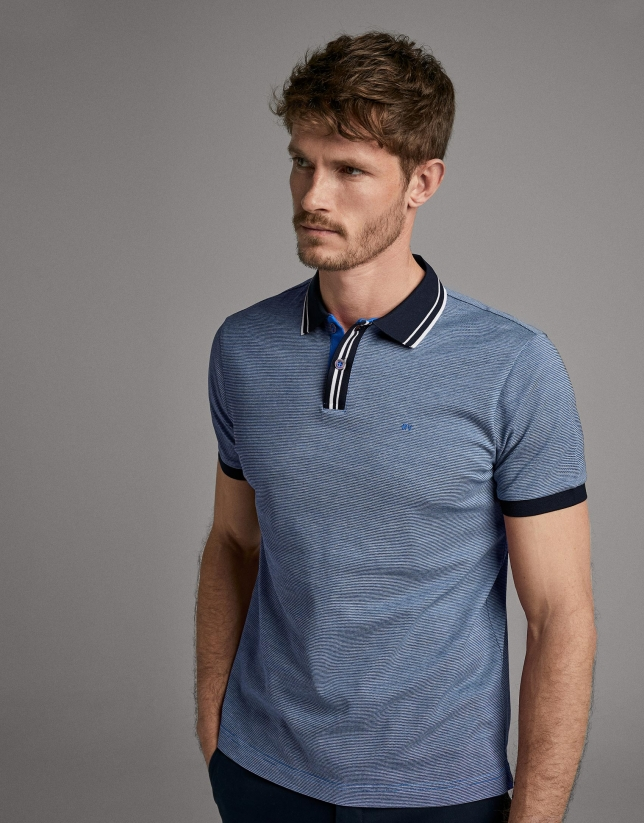 Blue striped piqué polo shirt