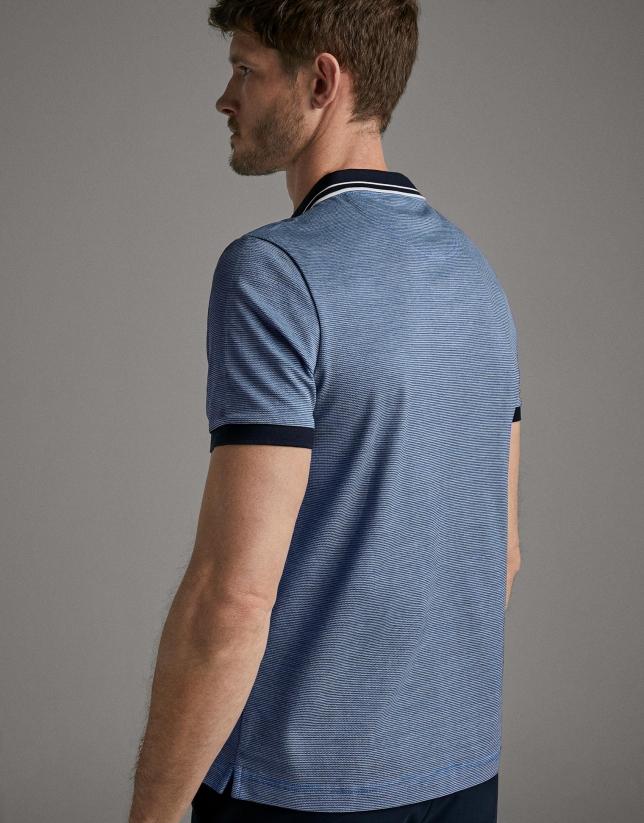 Blue striped piqué polo shirt
