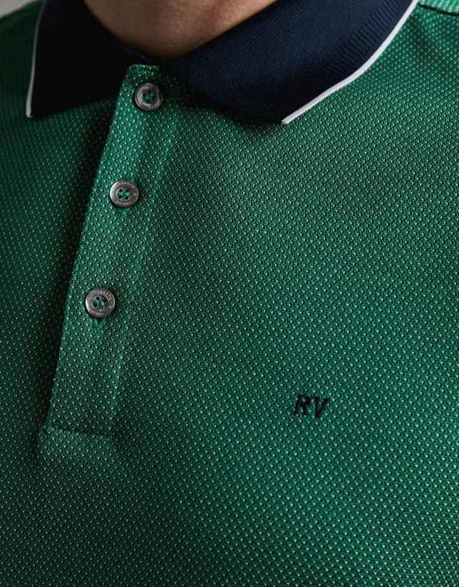 Green/navy blue jacquard polo shirt