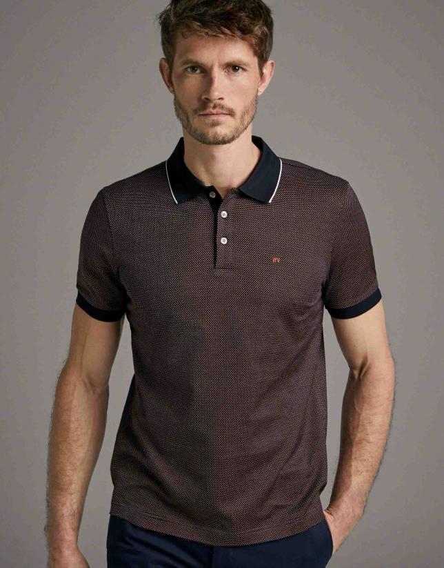 Orange/navy blue jacquard polo shirt