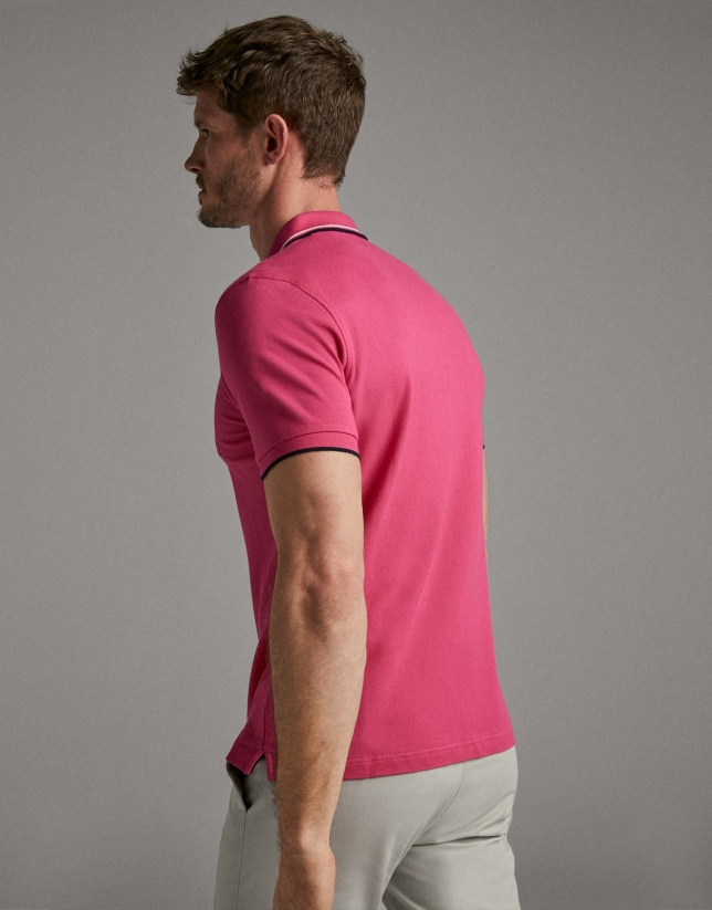 Dark pink piqué polo shirt
