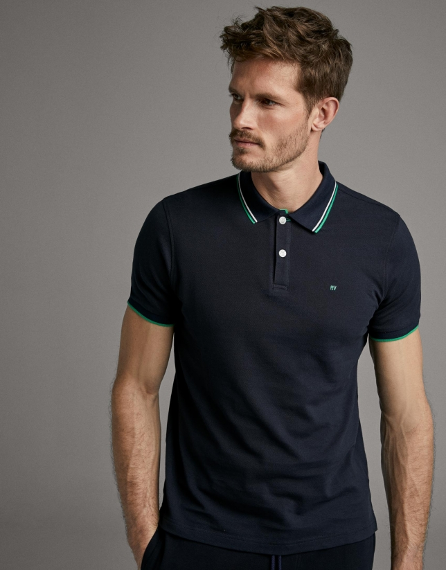 Navy blue piqué polo shirt