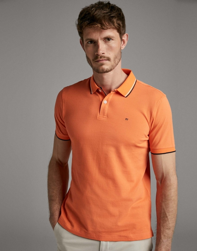 Salmon piqué polo shirt