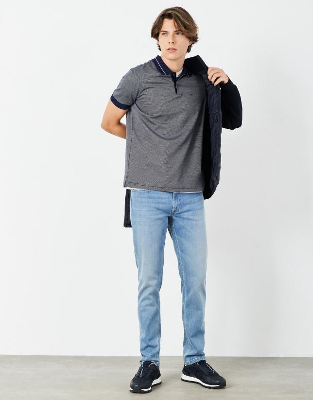 Polo jacquard marino/blanco