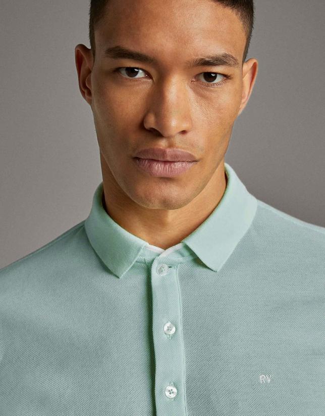 Light turquoise piqué polo shirt