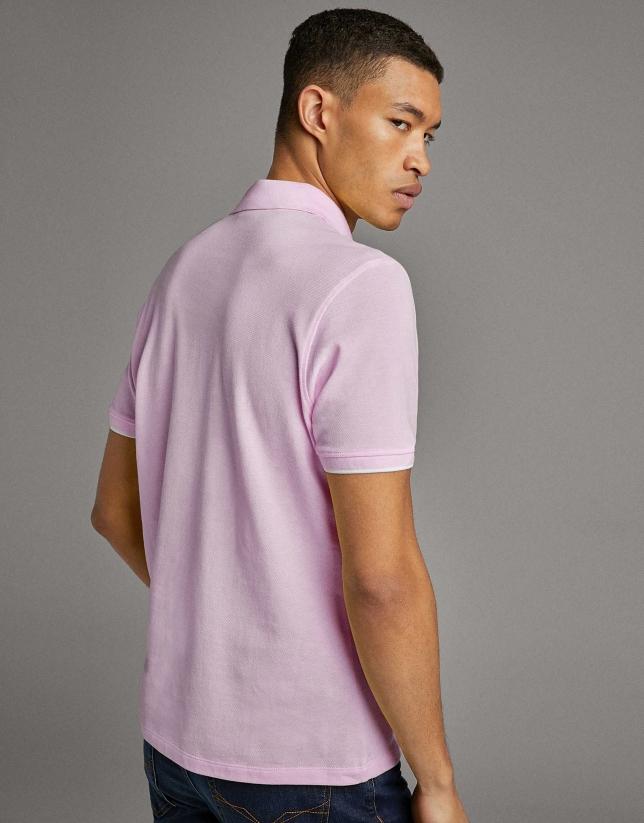 Pink piqué polo shirt