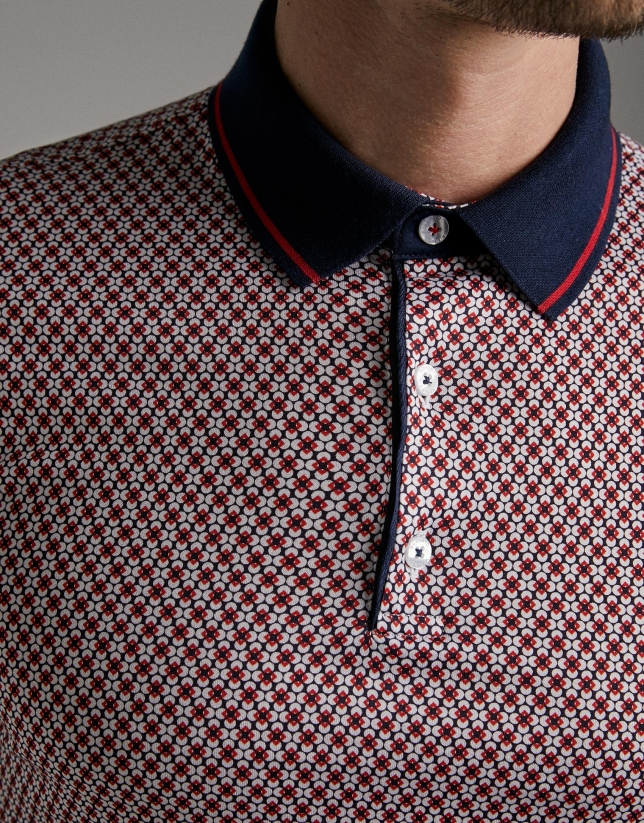 Floral geometric print polo shirt