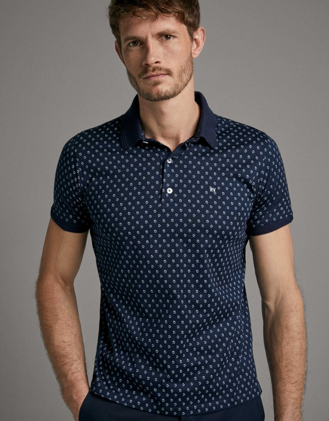 Navy blue/white floral print polo shirt