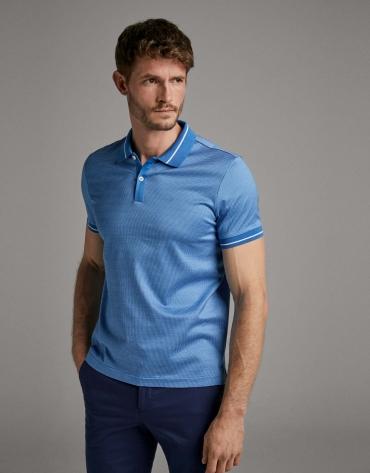 Blue/white jacquard polo shirt
