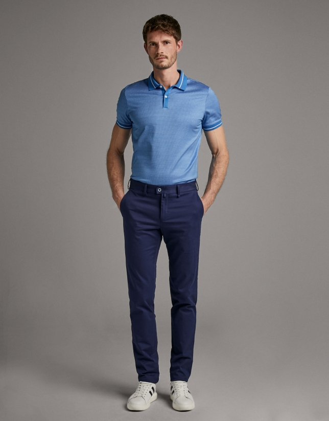 Blue/white jacquard polo shirt