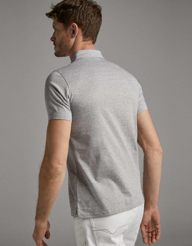 Grey melange pin-striped polo shirt