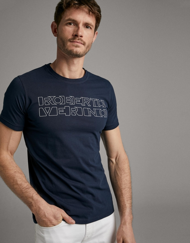 Navy blue t-shirt with white silk-screen print