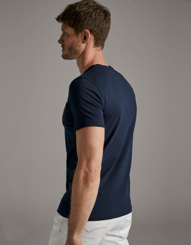 Navy blue t-shirt with white silk-screen print