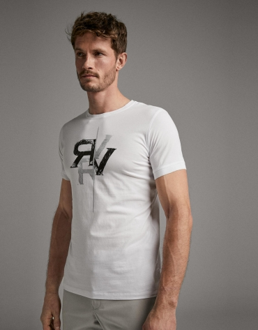 White t-shirt with gray logo