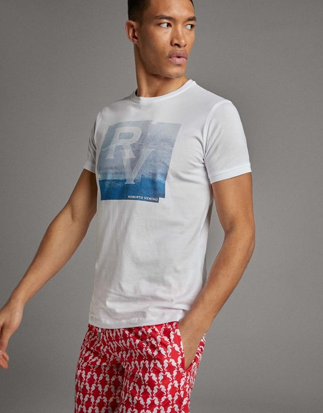 White t-shirt with turquoise silk-screen print