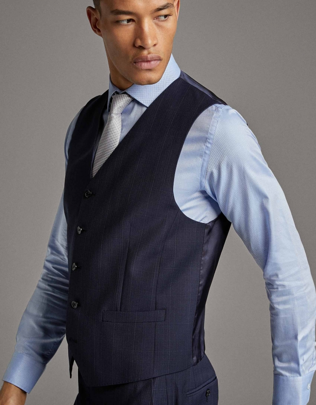 Navy blue checked wool dress vest