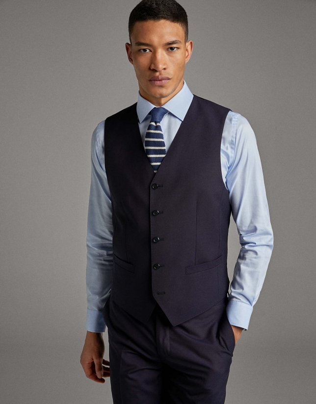 Navy blue wool dress vest