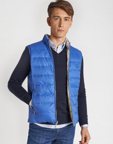Light blue and beige reversible vest