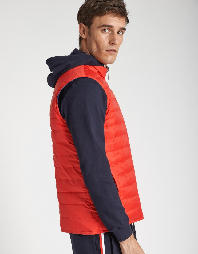 Navy blue and red reversible vest