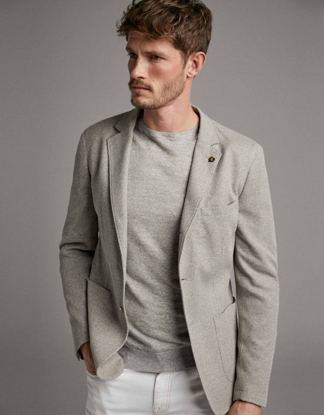 Beige knit sport jacket