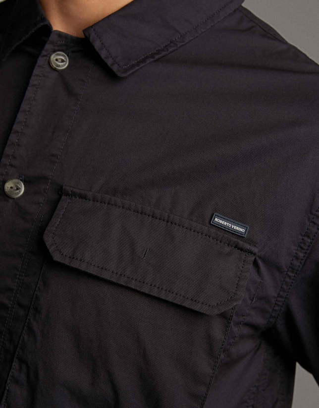 Navy blue cotton over-shirt