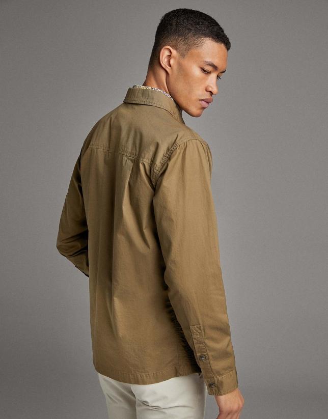 Khaki cotton over-shirt