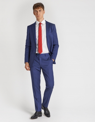 Dark blue, virgin wool, regular-fit suit