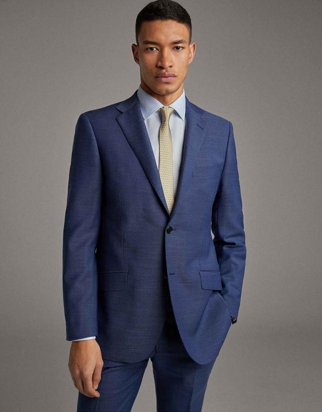 Blue wool, regular fit suit