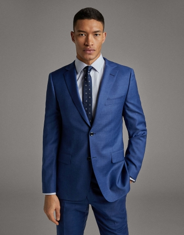 Blue wool, two-piece, slim fit suit
