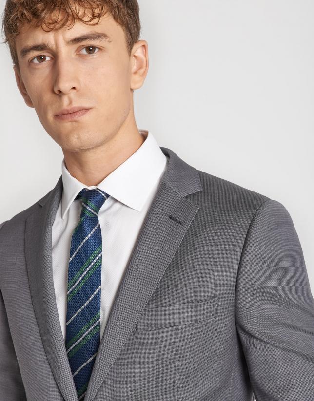 Gray wool, two-piece, slim flit suit